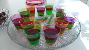 Rainbow jelly cups