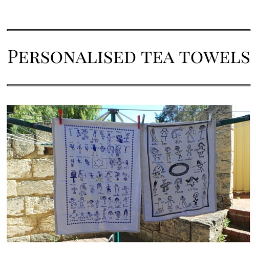 Fundraising with kids artwork on tea towels