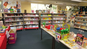 Scholastic Book Fairs come pre-packed into portable shelving units