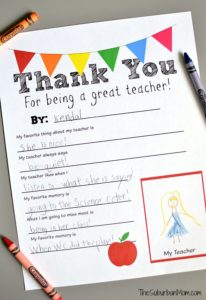 Thank you teacher printable from The Suburban Mom on Fundraising Mums