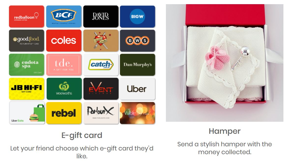 Group Together gift card and hamper options | Fundraising Mums
