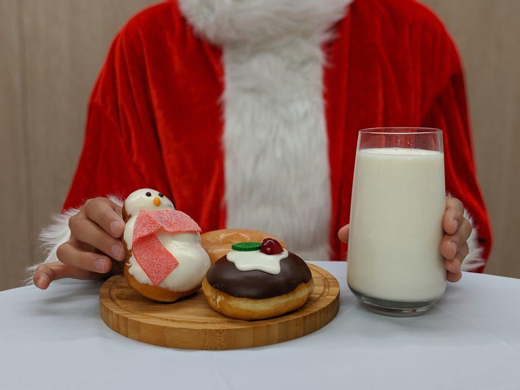 Santa loves the Krispy Kreme Christmas doughnuts