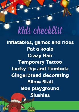 Kids checklist for fetes | Fundraising Mums